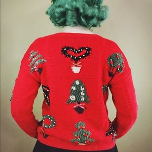 """Sweaters - Red Hand Knit Vintage """"Ugly Christmas"""" Sweater"""